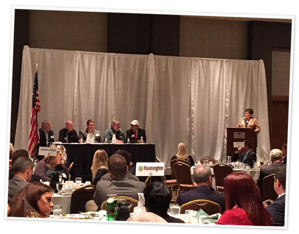GLBMW's Kristen Wenzel moderates a panel discussion with employers